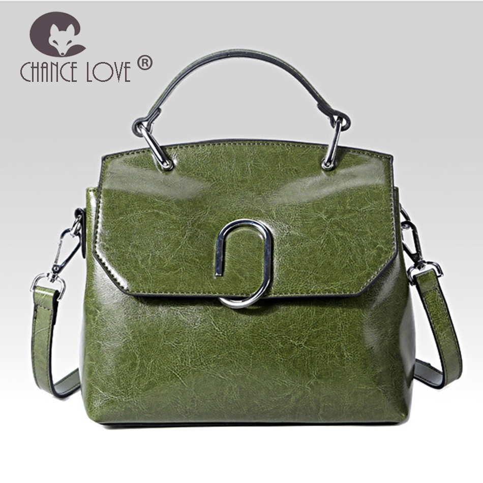 Chance Love 2018 new metal buckle ladies portable Messenger bag style wild bag black army green rose Genuine Leather handbags army green metal y2m 50tk 50 pin aviation connector new