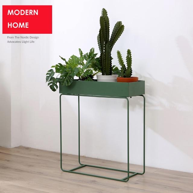Moderno loft metal flor planta estante Mesa almacenamiento ...