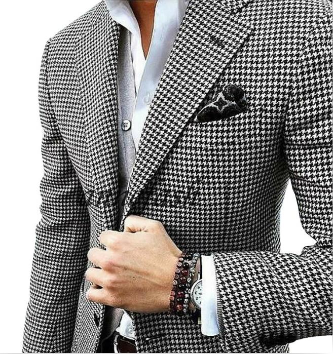 Suit Woolen-Pants Custom-Made Houndstooth Black Vest Jacket Blazer Casual