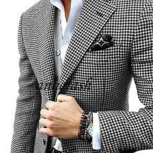 Шерстяной Блейзер с узором «гусиная лапка» на заказ, повседневный костюм, Свадебный костюм, куртка с узором «гусиная лапка»+ черные шерстяные брюки+ жилет