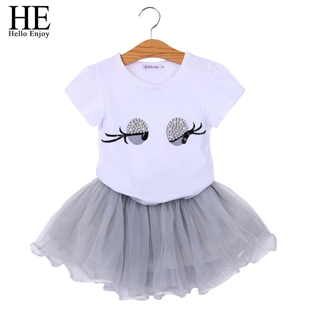 HE Hello Enjoy Children Clothes 2018 Summer Kids Clothing Short Sleeves White Print Eyes Pearl Top+Gauze skirt Suit Girls Set