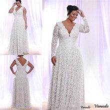 цена на Lace Plus Size Wedding Dresses Removable Long Sleeves Deep v Neck Bridal Gowns Floor Length Customized