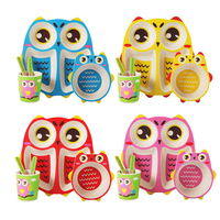 Cute 5pcs/set owl baby Plate bow cup Forks Dinnerware feeding Set bamboo fiber Baby children Plate lunch box tableware