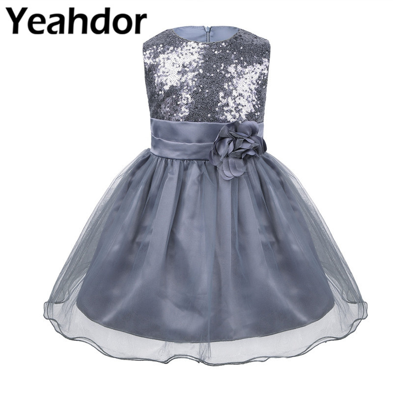 Kinder Mädchen Ärmel Straps Krawatte Pailletten Mesh Blume Prinzessin Brautjungfer Kleid Für Pageant Hochzeit Geburtstag Party Formale Kleid
