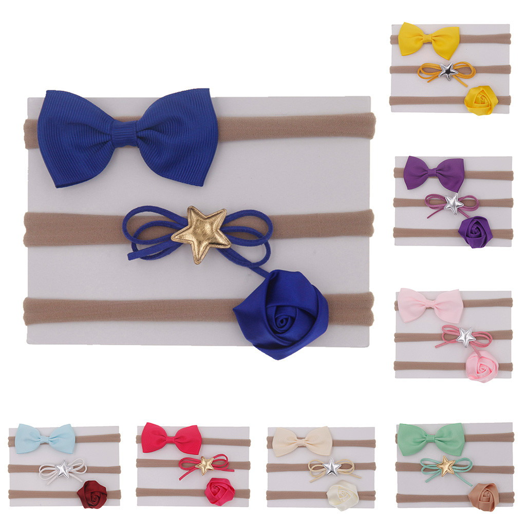 HOT!! 3Pcs Cute Infant Kids Baby Girls Bow Knot Hairband Headband Accessories Set Barrettes   Headwear   bandeau bebe Lowest Price