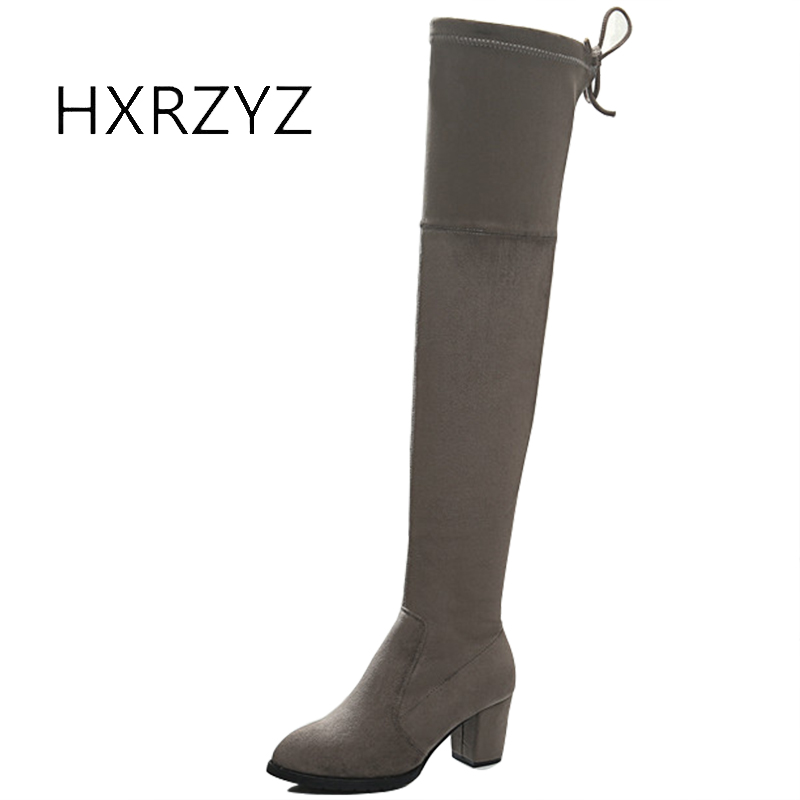 HXRZYZ women thigh high boots ladies over the knee boots autumn/winter fashion lace-up high heeled keep warm women stretch shoes superstar flock stretch boots runway fashion winter shoes med heel thigh high boots lace up bowtie women over the knee boots l15