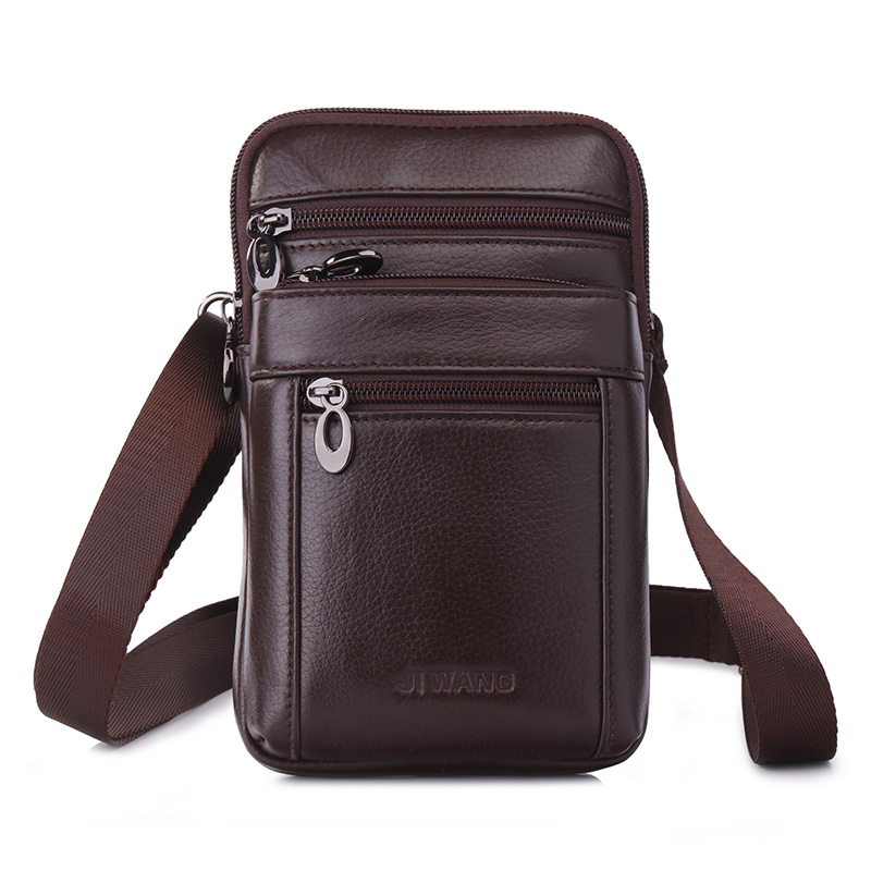 Men Fashion Messenger Shoulder Fanny Bags Purse Hook Cross Body Belt Pack Casual Genuine Leather Cell Phone Case Waist Bag