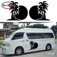 2x Sun Palm Coconut Tree Ocean Beach One For Each Side Tropical Holiday Car Sticker Camper