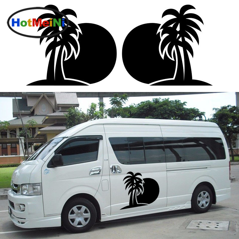 HotMeiNi 2x Sun Palm Coconut Tree Ocean Beach(one for Each Side)Tropical Holiday Car Sticker Camper Van RV Trailer Vinyl Decal