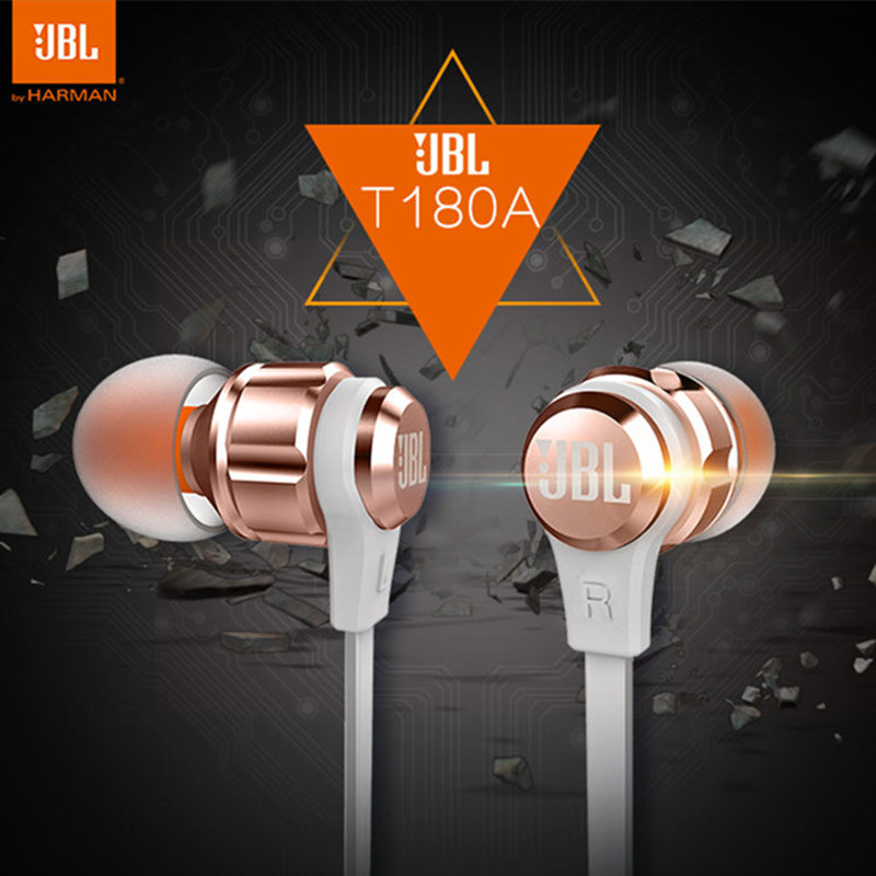 Original JBL T180A Fashion Best Bass Stereo Earphone For Android iOS mobile phone in ear Earbuds Headsets With Mic Earphones new original jbl synchros reflect best bass stereo hifi sports earphone for iphone earbuds headsets with mic pk se215 se535