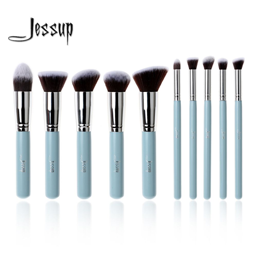 Professional 10pcs Blue Silver Jessup Brand Makeup Brushes