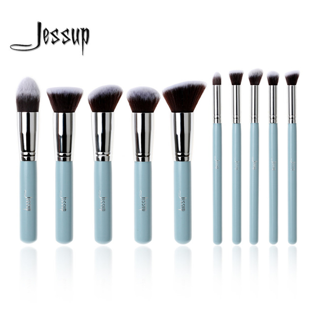 Professional 10pcs Blue/Silver Jessup Makeup Brushes Sets Beauty Kit Foundation Kabuki Precision Brush Cosmetics Make up tools