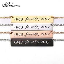 Fashion Johnny Hallyday Signature Nameplate Pendant Neckalce Stainless Steel ID Bar For Men Women Custom Name Necklaces Jewelry