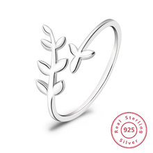 цена на 2019 Women's Fashion Leaf Jewelry 925 Sterling Silver Olive Leaf Rings White Gold Plated Silver Rings engagement ring lover gift