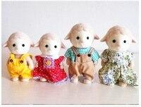 4 Koyun koyun aile mini boyutu Sylvanian Aile Figürleri Anime Karikatür rakamlar, oyuncaklar Çocuk Oyuncakları hediye