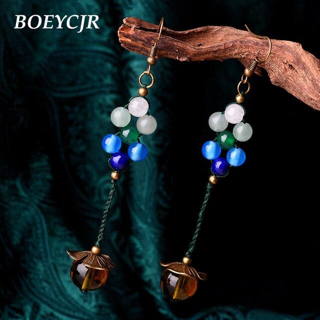 409cb6a10542 BOEYCJR hechos a mano étnicos de elegante de piedra cristal cuentas  pendientes de gancho para las mujeres joyería de la vendimia regalo 2019