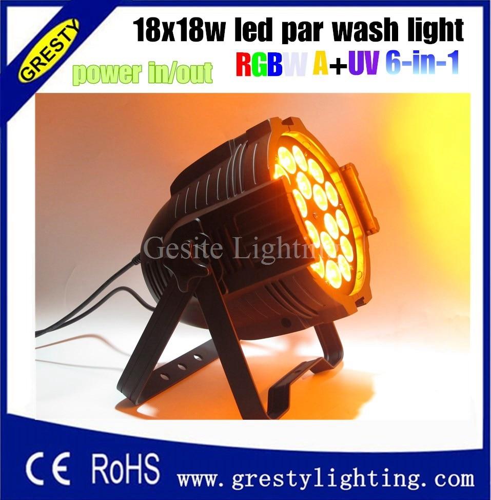 16pcs/lot 18x18w Rgbwa+uv 6in1 Led Par Cans Wedding Light Equipment Rental Led Wash Light Commercial Lighting Stage Lighting Effect