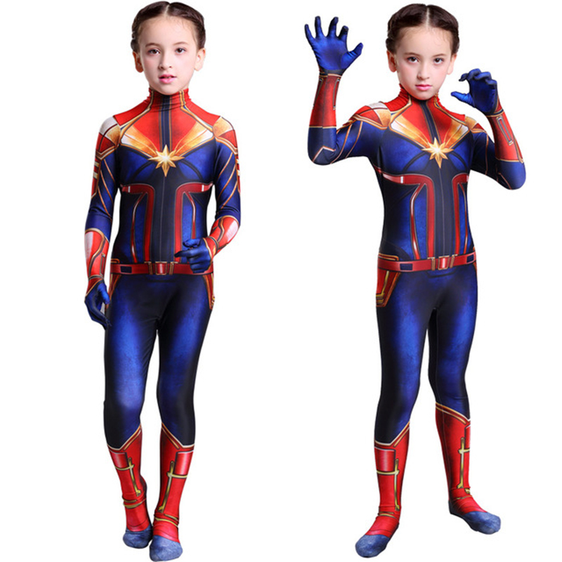 Movie Captain Marvel Cosplay Costumes Carol Danvers Kids Girls Zentai Spandex Jumpsuits Bodysuits Party Fancy Ball Suit 2019 New