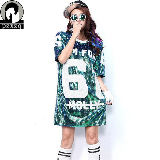 09d1d8cbc378b 2017 New Colour Fashion sequins Women Loose Long Half Sleeve Tees Women  streets Clothes United States Style Punk T-shirt