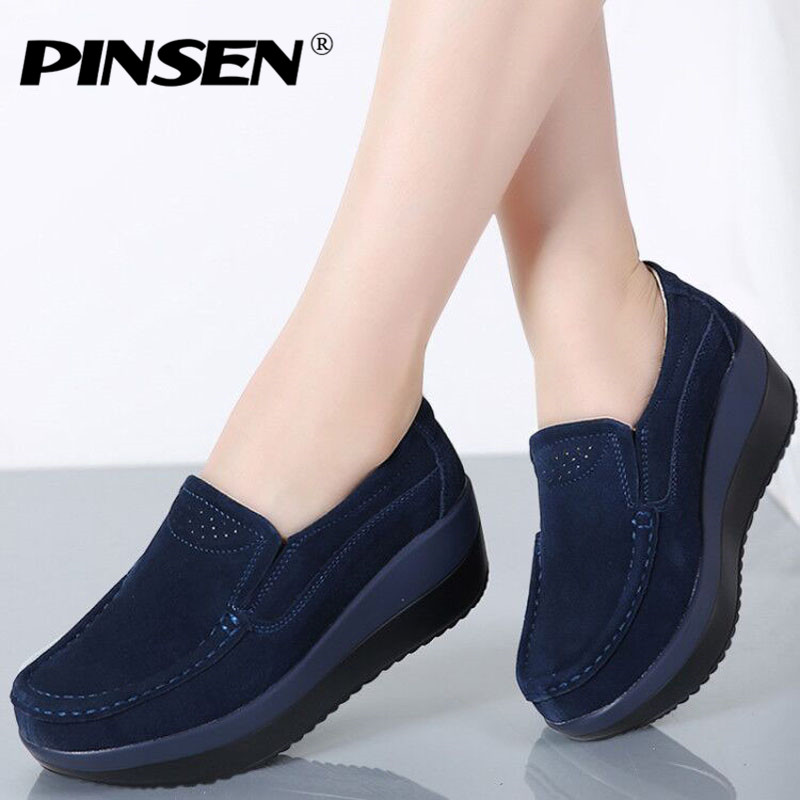 e20433a82d6 Γυναικεία παπούτσια PINSEN 2019 Autumn Women Flat Platform Loafers Shoes  Ladies Suede Leather Hollow Casual Shoes Slip on Flats Moccasins creepers
