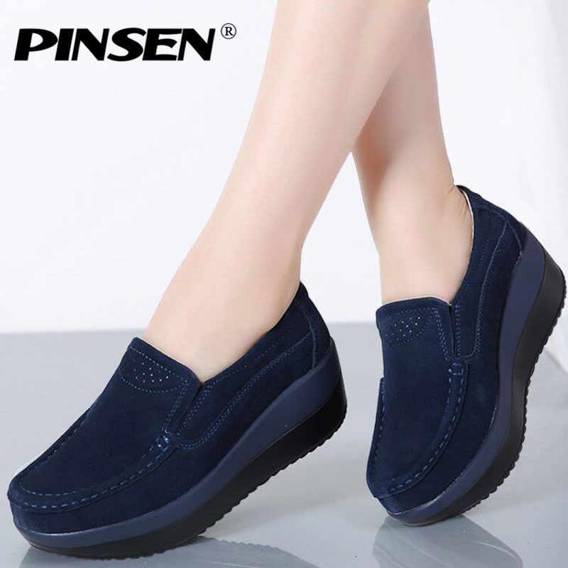 aea560ff5807 PINSEN/осень 2019 г. женские лоферы на плоской платформе, женская обувь из  замшевой ...