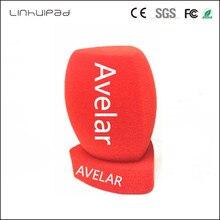 Linhuipad 4センチメートルdiametreカスタマイズロゴ赤インタビューマイク泡フロントガラスハンドヘルドフロントガラスビデオカメラコンデンサー