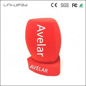 Image 1 - Linhuipad 4CM diametre personnalisation LOGO rouge entretien Microphone mousse pare brise tenu dans la main pare brise caméra vidéo condenseur