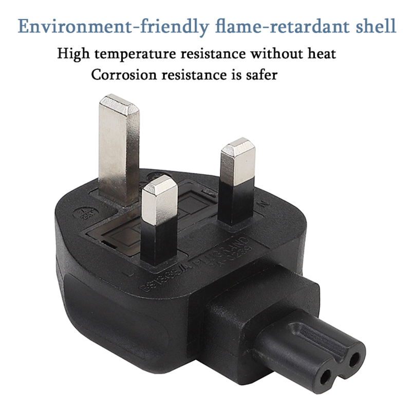 3-Pin Male To Iec 320 C7 Female Ac Adapter 3A Fuse,Uk Industrial Heavy Power Converter