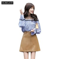 2019 New Sheepskin Genuine Leather Skirts Woman Fashion High Waist Sashes A Line Skirts Lady Casual Sexy Real Leather Mini Skirt