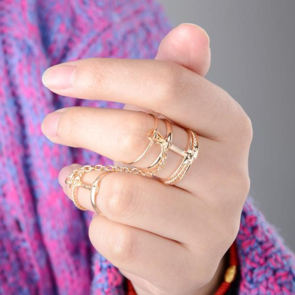 Punk Lady s Gold Multilayers Finger Rings Sets Plain Knuckle