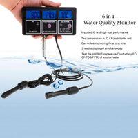 6 in 1 Water Quality Tester Monitor pH Meter Aquarium Water Meter for PH / Temperature / EC / CF / PPM / TDS