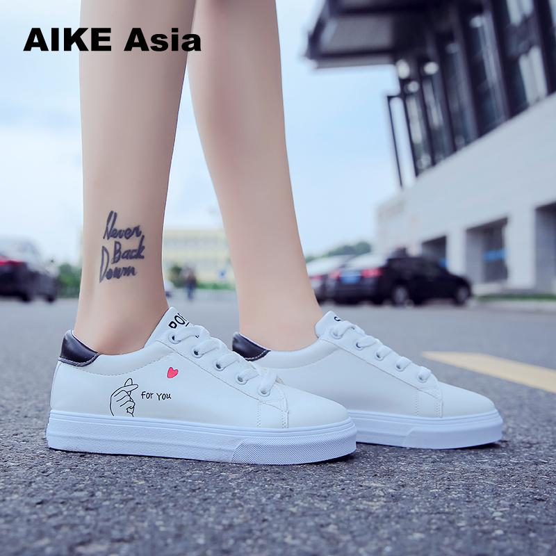 2018 New Spring Tenis Feminino Lace-up White Shoes Woman Pu Leather Solid Color Female Casual Women Sneakers Zapatos 2018 new spring tenis feminino lace up shoes woman pu leather solid color female shoes casual women shoes sneakers hot sale