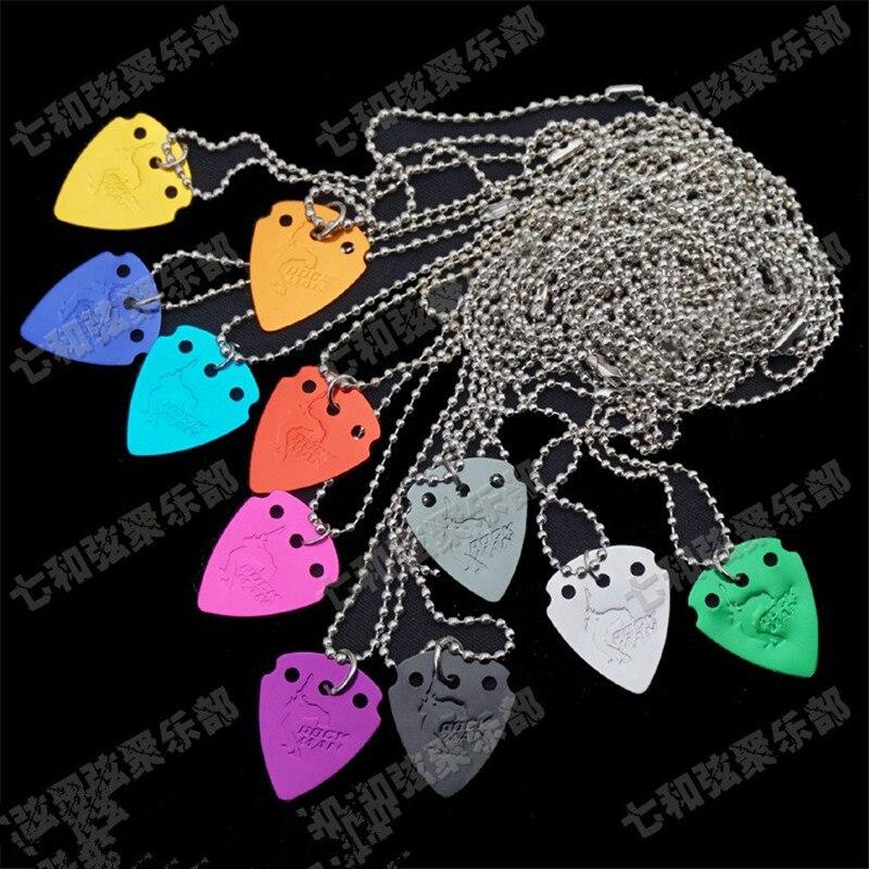 10 Pcs Mix Colors Aluminium Alloy Guitar Picks Plectrums Pendant Necklace Thickness 1.0mm