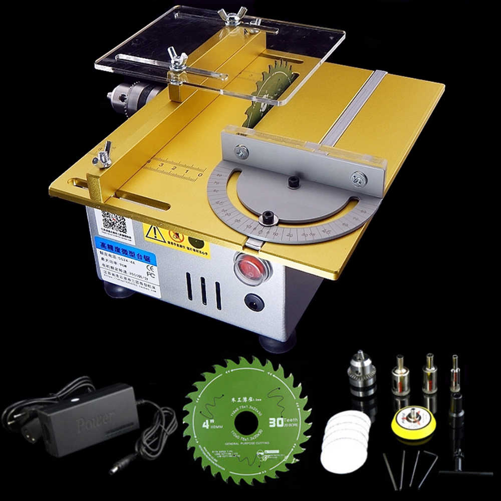 Multifungsi Mini Table Saw Woodworking Bench Lathe Polisher Grinder Listrik DIY Model Buatan Tangan Cutting Saw 7000 RPM B12 Chuck