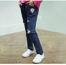 Vestidos 2016 autumn girls fall bear hole ripped blue jeans girls cotton jeans girls clothes kids