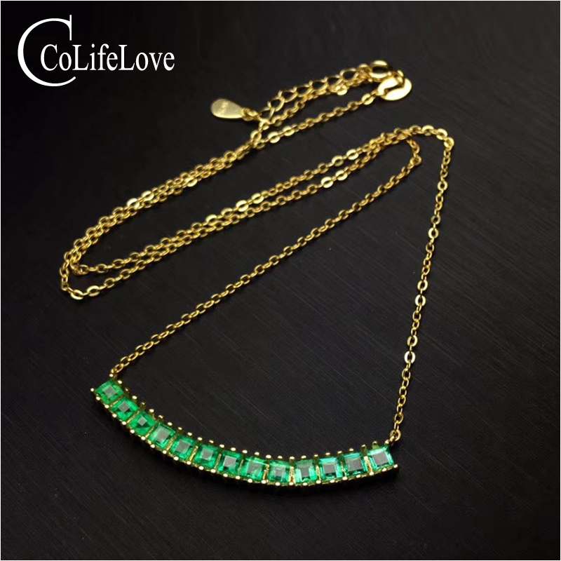 Elegant Silver Emerald Necklace for Evening Party 13 PCS Natural Emerald Necklace Yellow Gold Color 925 Silver Emerald Jewelry