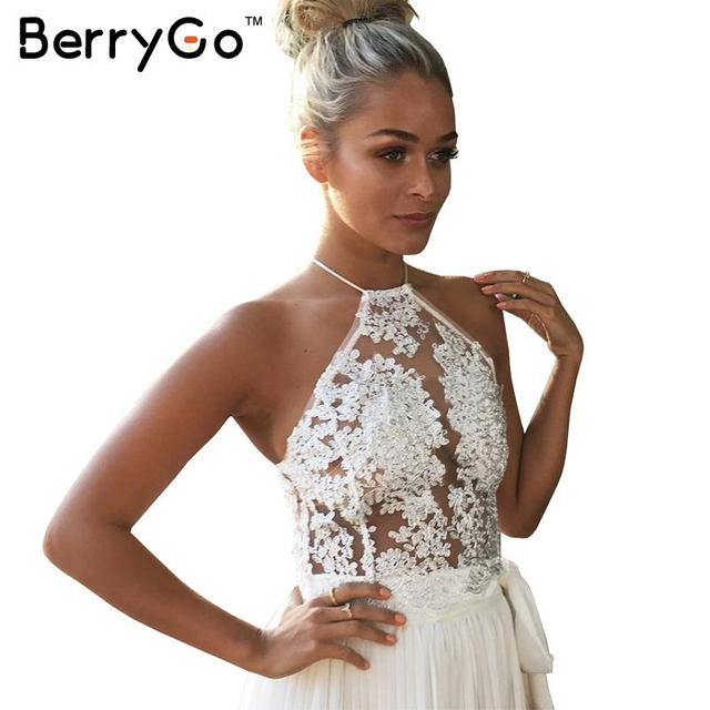 BerryGo Elegant white lace crop top Summer beach party backless short halter tops Sexy gauze gold camis Metallic women tank top
