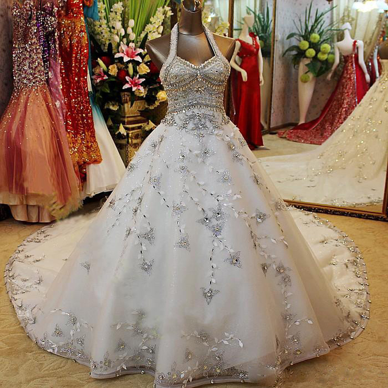 Jeweled Ball Gown Wedding Dresses: 2017 Luxury Crystal Beaded Halter Ball Gown Wedding