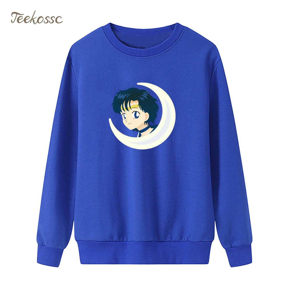 Cartoon Sailor Moon Women Sweatshirt Print Mizuno AmiSailor Mercury Hoodie 2018 New Winter Autumn Lasdies Pullover Fleece Hoody