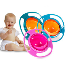 Baby Universal Gyro Bowl 360 Practical Design Children Rotary Balance Novelty Umbrella Rotate Solid Feeding Dishes for