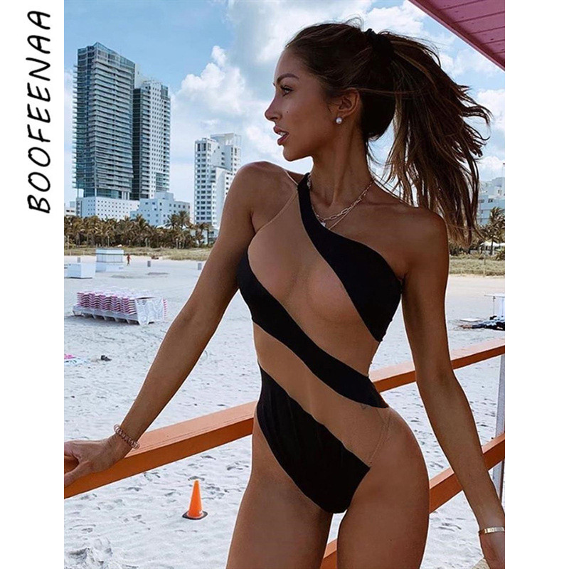BOOFEENAA Sexy Bodysuit Women Sheer Mesh Patchwork Black One Shoulder Bodysuits Tops Summer Rave Outfit Beach Swimsuit C83-G51