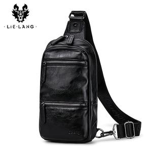 Image 2 - LIELANG Chest bag leather men brand bag casual multi function 2019 new fashion men bag shoulder messenger men chest bag leather