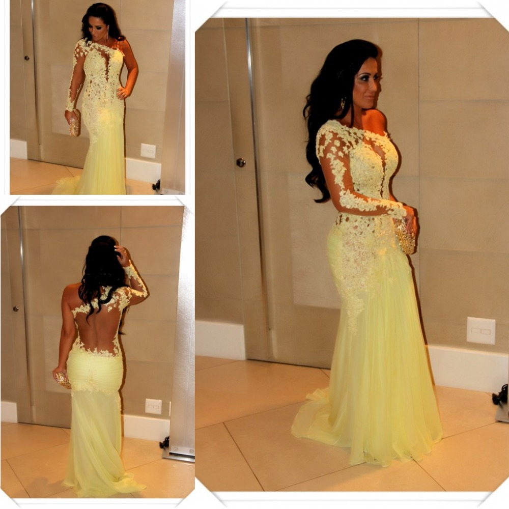 Popular 2016 Yellow Prom Dresses One Shoulder Lace-Buy Cheap 2016 ...