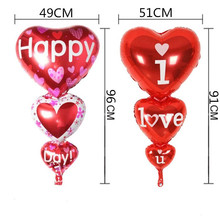 "Big Heart Baloon ""I Love You"""" Happy Day"" Balloons Party Decoration Engagement Anniversary Weddings Valentine Balloons"