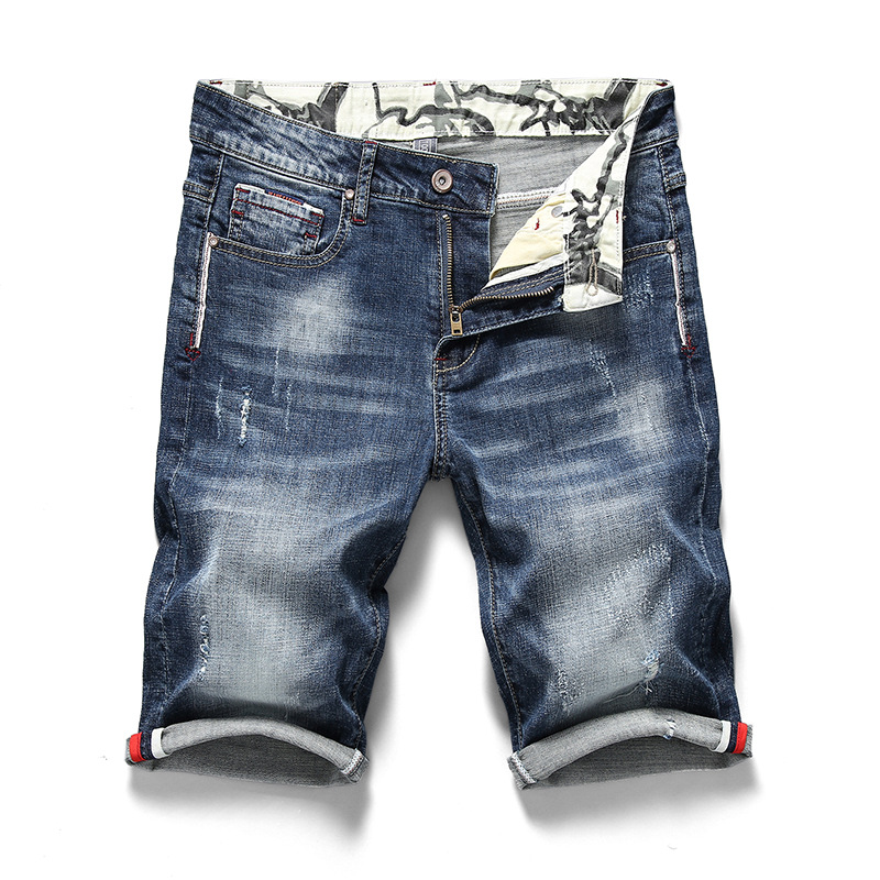 Kiby's Mens Ripped Short Jeans Clothing 2019 Summer 98% Cotton Breathable Tearing