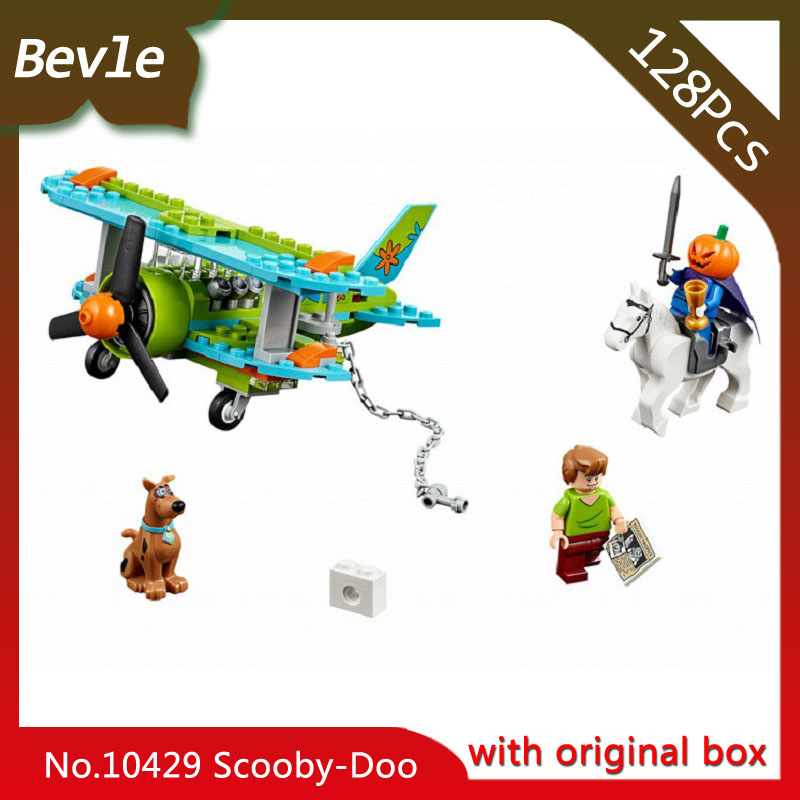 Bevle Store Bela 10429 127pcs with original box Scooby Doo Series Mysterious plane Building Blocks Toy For Children Lepin 75901 bela 10429 scooby doo mummy museum mysterious plane minifigures building block minifigure toys best legoelieds toys