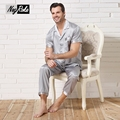 New Hot sale summer 100% silk quality pajama sets men short sleeves noble sexy silk mens pajama set silk sleepwear plus size 3XL