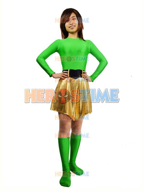 Spandex verde y Light Gold Metallic Superhero Costume disfraces de - Disfraces - foto 3