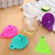 2 Psc Retractable silicone folding funnel kitchen liquid tool portable oil honey wine