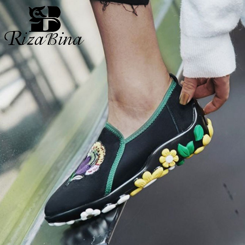 RIZABINA Ethnic Style Women Casual Shoes Genuine Leather Flats Shoes Slip On Comfort Soft Outdoor Women